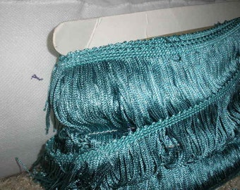 sale, FRINGE  '3 yard lots/5 dollars', FABULOUS turquoise blue, Vintage, 2 3/4 inch wide, clean, wonderful condition, Halloween, Mermaid