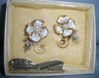 free shipping, Real Pearls, SET Coro Originals, clip earrings/brooch on sale too/ORIGINAL BOXES, original price tag, perfect condition