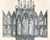 1894 Back-to-back German Antique Engraving of Altars