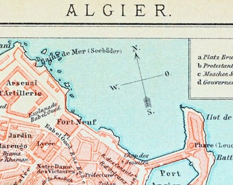 1894 German Vintage Map of Algiers, Algeria - Vintage City Map - Old City Map