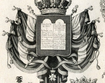 1851 Antique Steel Engraving of Coats of Arms. Plate 28