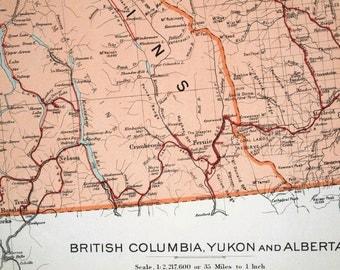 1915 Large Vintage Map of British Columbia, Yukon, and Alberta -- Telegraphs