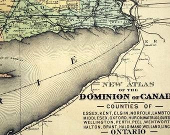 1880 Rare Large Antique Hand-Coloured Map of Ontario Counties. Essex, Kent, Elgin, Norfolk, etc.