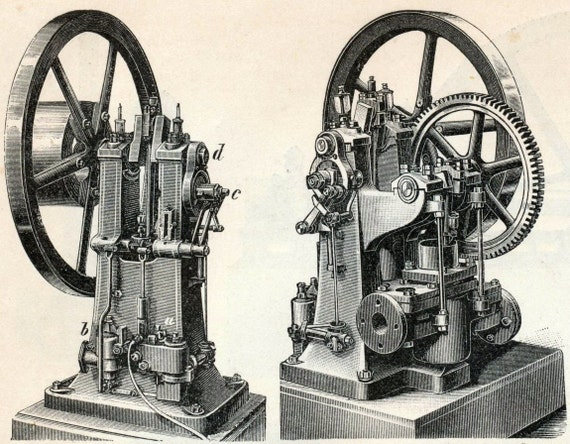 1894 German Back to Back Engraving of Gas Motors