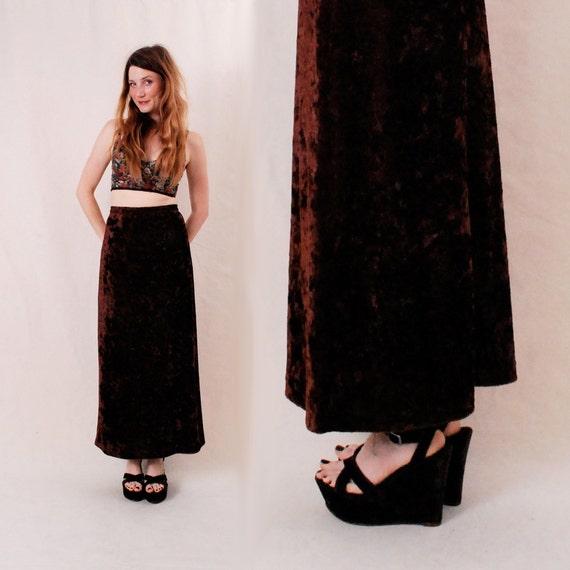 Vintage Maxi Skirt Womens Long Skirt xs/s - lux brown velvet 90s skirt w/ sheer layer - FREE Worldwide Shipping