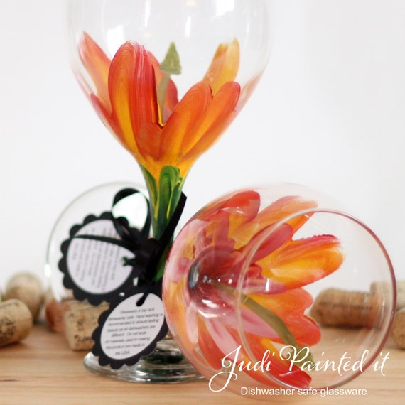 Tropical Hibiscus hand painted wine glass - FREE personalization.  (1) Dishwasher safe glass
