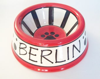 Feed Your Dog in Style - PERSONALIZED Custom Dog Bowl - Dots N' Stripes LARGE