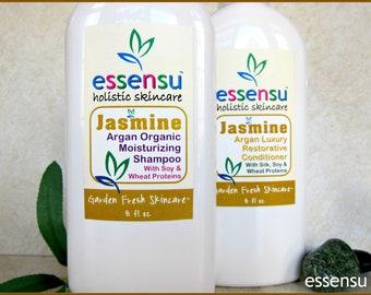 Jasmine Organic Argan Oil Moisturizing Shampoo and Argan Oil Conditioner Luxury Hair Care Set , Daily Use , No Sulfates or Parabens - 8 oz