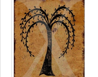 Printable sign , Willow tree Grubby , Use For Tote Bags , Quit Blocks , Frames , Pillows or Decoupage