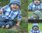 Downtown Boy Beanie/Bucket Crochet Hat Sizes Infant to Adult