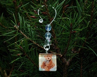 Custom Photo Charm Finished With Silver Plated Wire Ornament Hanger
