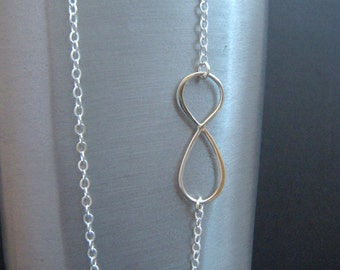 infinity necklace. long silver necklace. large sterling pendant. simple figure eight. minimalist. zen jewelry. infinite love. 32 inch