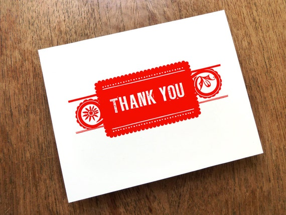 INSTANT DOWNLOAD - Thank You Card Printable - Thank You Card Template - Print & Fold Thank You Note - Red Mexican Thank You Card - PDF