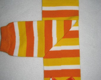 Boutique baby legwarmers Candy Corn stripe with bows