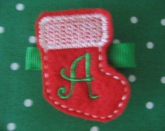 Boutique Initial Christmas stocking felt clip hair barrette