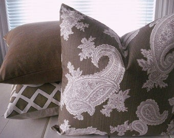 Both Sides-- Decorative Pillow Cover--Designer Fabric - throw Pillow-Paisley Design--Mocha --Taupe--chocolate-Cream- Aubergine