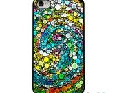 On Sale! Colorful Circles with Black or White Sides iphone Case - IPhone 4, 4S, 5, 5S, 5C Hard Cover - FunColorful Unique  - artstudio54