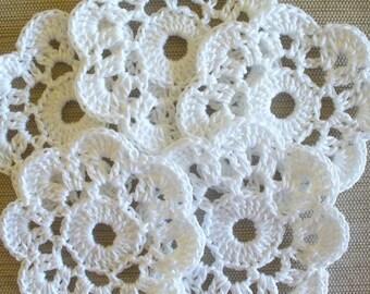 10 White Crochet Mini Doilies, handmade appliques, embellishments