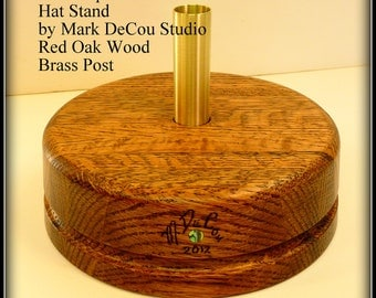 Built-to-Order, Hat Making Tool Crown Block Spinner Stand Maker's Millinery Brass Center Post Solid Red Oak Wood