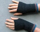 men's fingerless gloves/ black cotton crochet