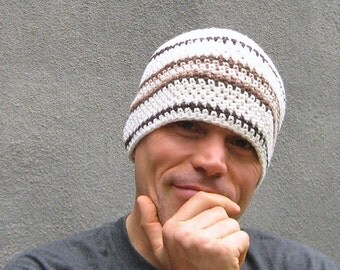men's cotton beanie/ cocoa cream crochet
