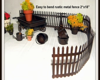 Miniature tin fence-Fairy garden fence-Doll house fence-Rustic metal fence-Mossy Fence