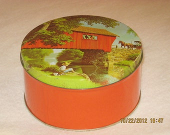 TIN 10 - Vintage 1970s Covered Bridge Tin