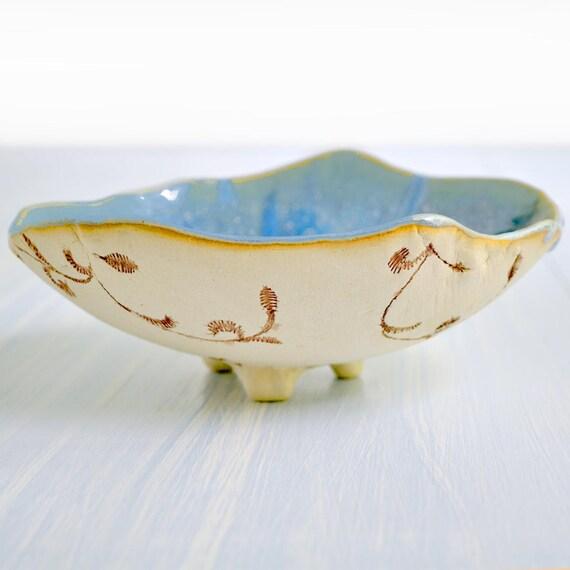 hand built bowl modern Ceramic Bowl  minimalist ceramics Ice Blue glaze Urban Rustic vines series 10 oz