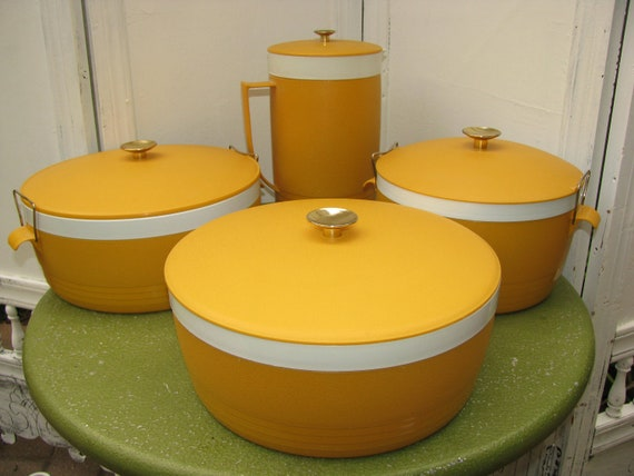 Vintage 4 Piece Set of Sun Frost Therm o Ware  Covered Bowls and Pitcher in Harvest Yellow Mustard