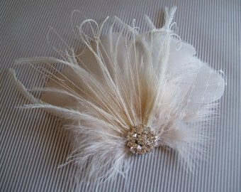Wedding Bridal Ivory Feather Rhinestone Jewel Head Piece Hair Clip Fascinator Accessory