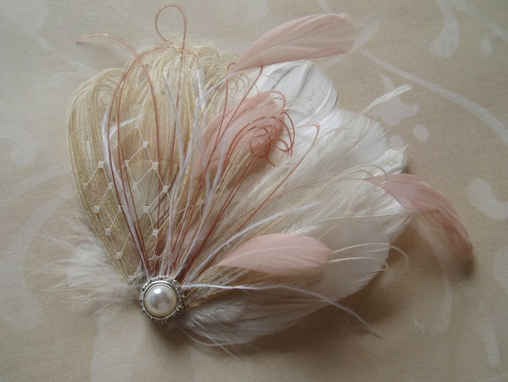Wedding Fascinator, Bridal Head Piece,  Feather Hair Clip, Nude Ivory Pink Champagne pearl crystal - READY TO SHIP
