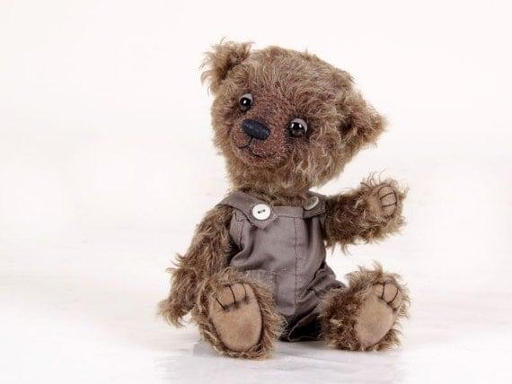 Tom Artist Teddy Bear by Nina Popova, OOAK, , mohair, jointed, brown