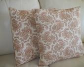 SALE Pastel Paisley Pillow Cover 16 x 16 Set of 2