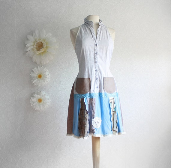 Women's Upcycled Dress Bohemian Clothing Light Blue Drop Waist Brown Shirt Dress Eco Fashion Size Small 'KRISTINA' Cyber Monday Etsy