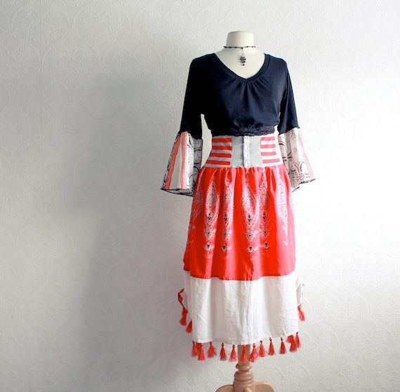 plus size dress 1x bohemian clothing red by brokenghostclothing