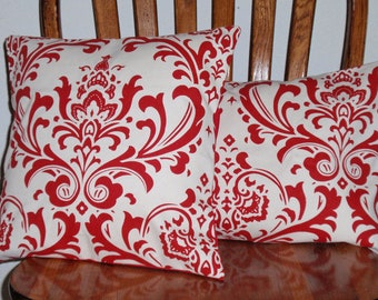 Throw Pillow Covers, Handmade Red & White Damask Throw Pillow Covers, Elegant Damask Pillow Covers, Decorative Cushion Covers, SET OF 2