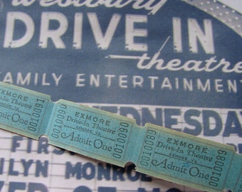 Vintage Antique  Drive In Theatre Tickets