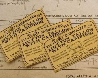 Gorgeous Antique Mutton Tallow Gummed Labels