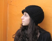 Black Crochet Newsboy Hat with Brim, Classic Newsboy