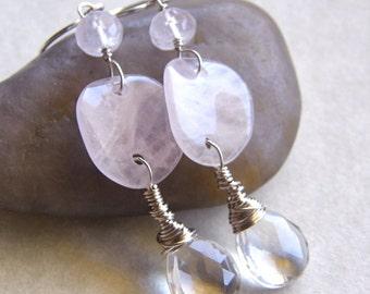 Rose Quartz Earrings, Crystal Quartz Teardrop Earrings, PInk Earrings, Blush Earrings, Bridal Earrings
