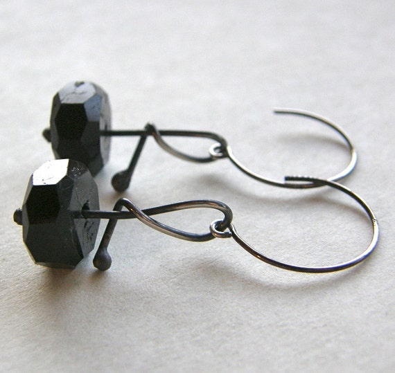 Black Tourmaline Lyrical Metalwork Earrings, Simple Black Drop Earrings, Black and Sterling Silver Earrings