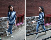 Striped Cashmere Sweater : Vintage Wool Pullover S, M