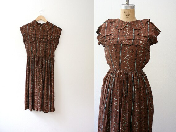 1940s dress / 40s Rayon dress / Tawny Owl dress