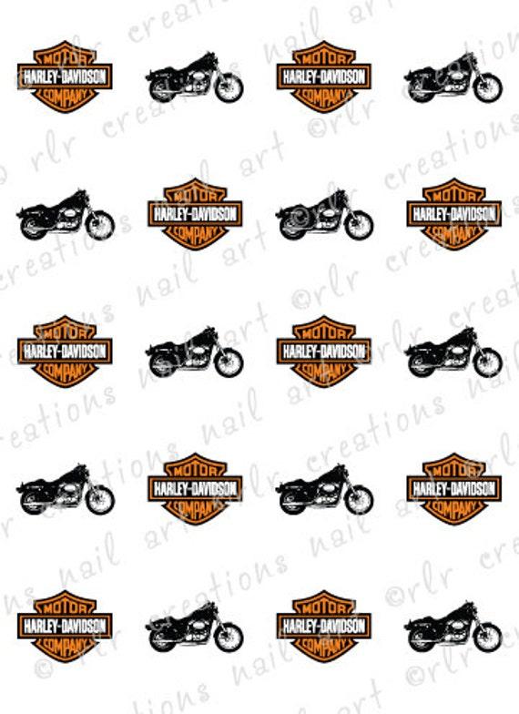 ... HARLEY DAVIDSON MOTORCYCLE Water Slide Nail Art Decals Harley-Davidson