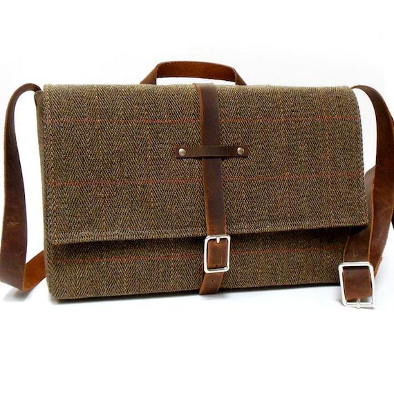 """11"""" MacBook Air / iPad Messenger bag -  brown herringbone tweed"""