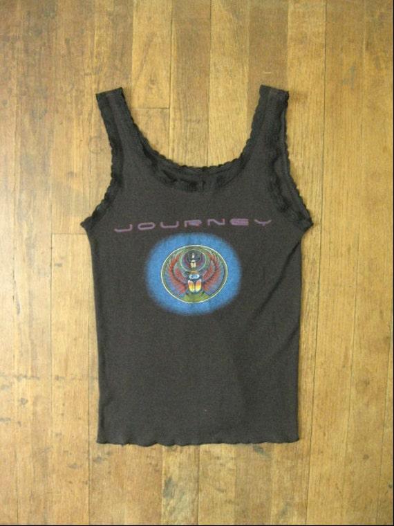 VINTAGE 70s Journey concert tank top lace biker