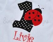 Ladybug birthday shirt or bodysuit. Personalized.