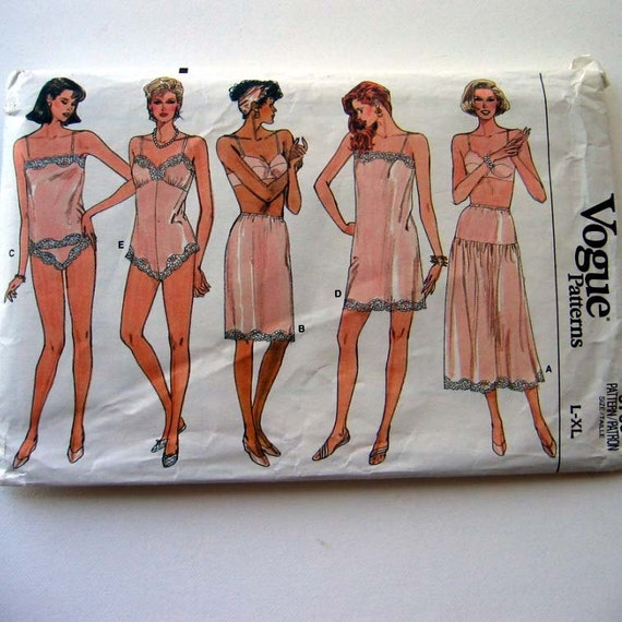 Vintage vogue lingerie pattern vogue 9765 by thevintagesewingshop