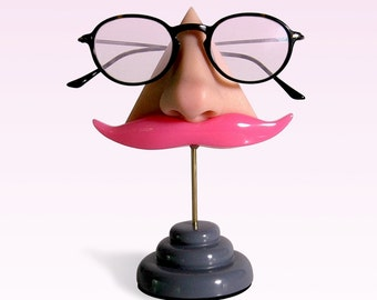 Eyewear holder, Nose eyeglasses display, Pink mustashe, Key hook, Glasses stand, Women, Men