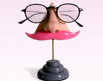 Eyewear holder, Nose eyeglasses display, Pink mustashe, Key hook, Glasses stand, Women, Men